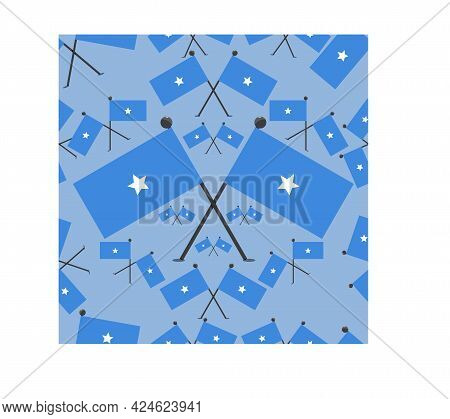 Vector Illustration Of Pattern Somalia Flags And Blue Colors Background