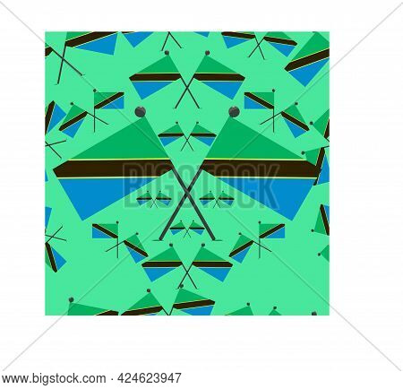 Vector Illustration Of Pattern Tanzania Flags And Green Colors Background