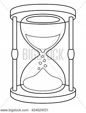 Hourglass - Linear Stock Illustration For Coloring Pages, Logo Or Pictograms. Outline. Hourglass - I