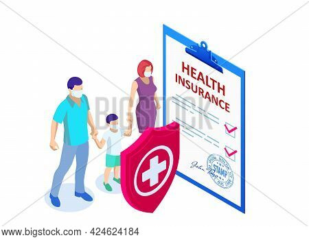 Isometric Health Insurance Concept. Healthcare, Finance And Medical Service. Medical Document Form.