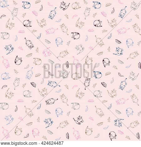 House Cat Seamless Pattern With Soft Pink Background. Funny Cat Illustration In Vector In Pastel Col