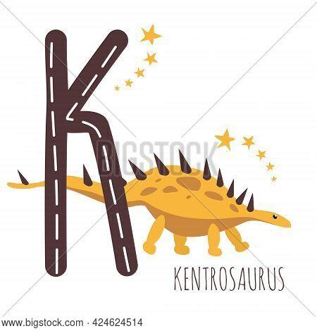 Kentrosaurus.letter K With Reptile Name.hand Drawn Cute Herbivores Dinosaur.educational Prehistoric