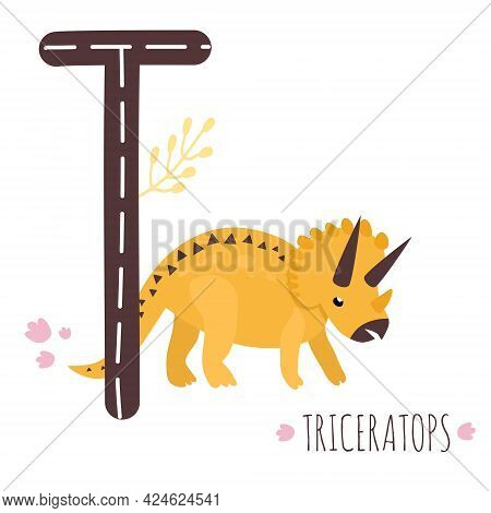 Triceratops.letter T With Reptile Name.hand Drawn Cute Herbivores Dinosaur.educational Prehistoric I
