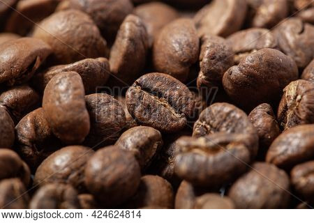 Photo Of Coffee Beans, Solid Background, Roasted Coffee Beans, Texture Of Roasted Coffee Beans, High