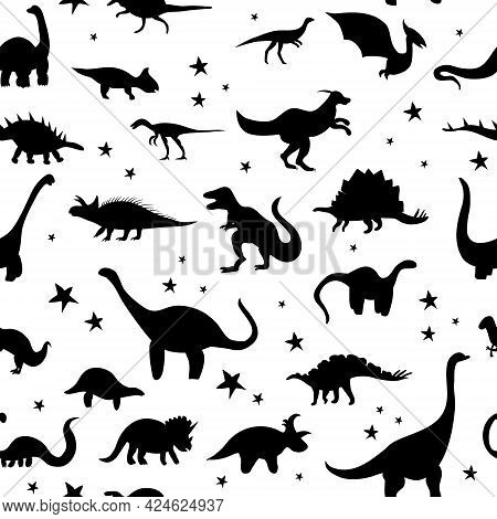Seamless Pattern With Cute Silhouette Dinosaurs.jurassic,mesozoic Reptiles,footprint.various Dino Ch