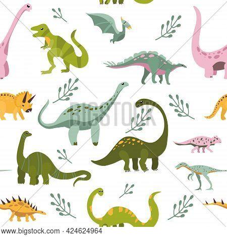 Seamless Pattern With Cute Hand Drawn Dinosaurs.sketch Jurassic,mesozoic Reptiles.various Dino Chara