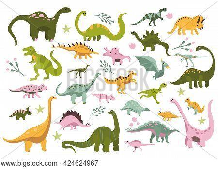 Various Dino Characters Set.cute Hand Drawn Dinosaurs.sketch Jurassic,mesozoic Reptiles.prehistoric