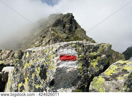 Mount Koprovsky Stit And Red Tourist Sign Vysoke Tatry Mountains, Carpathia, Slovakia