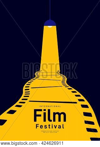 Movie And Film Poster Design Template Background With Vintage Filmstrip. Can Be Used For Backdrop, B