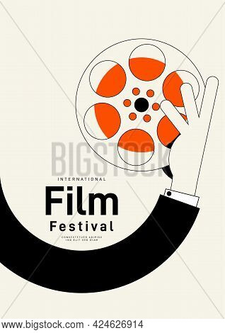 Movie And Film Poster Design Template Background With Vintage Film Reel. Can Be Used For Backdrop, B