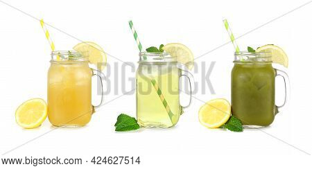 Set Of Summer Iced Green Teas In Mason Jar Glasses Isolated On A White Background. Iced Green Tea Le