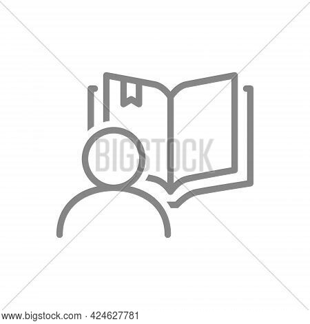 Open Book With Human Line Icon. Reader Review, College Symbol