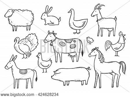 Hand Drawn Set Farm Domestic Animal, Horse, Cow, Bird. Doodle Sketch Style. Pork, Fowl Meat, Farm Fo