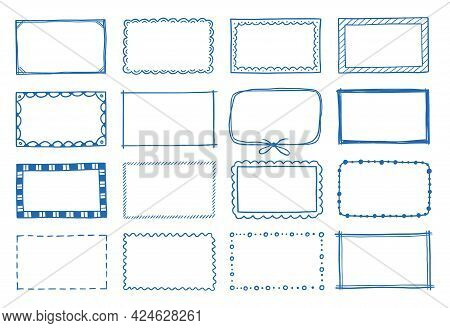 Hand Drawn Set Of Rectangle Frame. Doodle Sketch Style. Frame With Scrawl And Scratch Border. Vector