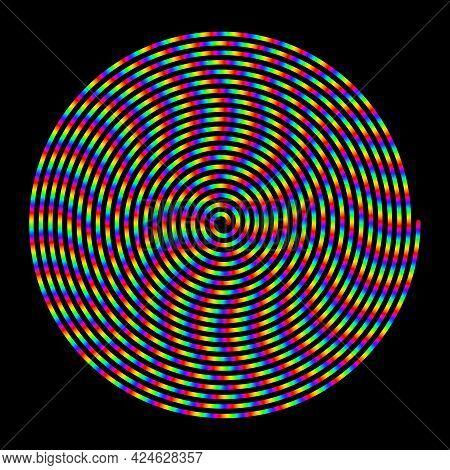 Rainbow Colors Spiral. Striped Swirl Line. Vector Hypnotic Spiral.
