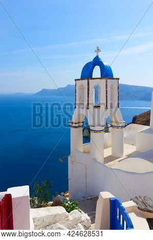View Of Caldera With Blue Sea  And Belfry, Oia, Santorini