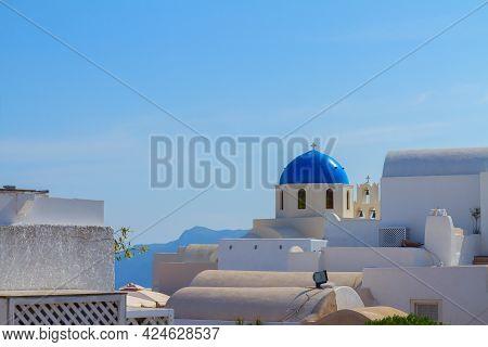 Skyline Of Oia, Traditional Greek Village Of Santorini, Greece