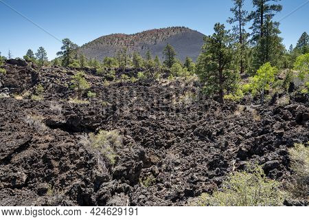 Lava Flow In Sunset Crater Volcano National Monument Near Flagstaff Arizona