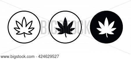 Cannabis Leaf Icon. Marijuana Legalize Symbol. Medicine Cannabis Sign, Herbal Nature Organic Plant.