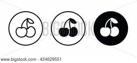 Cherries Icon, Cherry Fruit Icons Button, Vector, Sign, Symbol, Logo, Illustration, Editable Stroke,