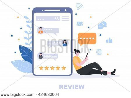 Review Vector Illustration Customer Giving Star With Good Or Bad Rate From Feedback, Testimonial, No