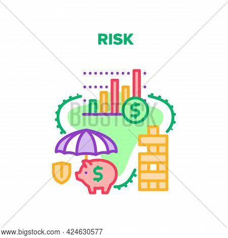 Risk Finance Vector Icon Concept. Risk Finance And Bank Deposit Money Protection, Cash Insurance And