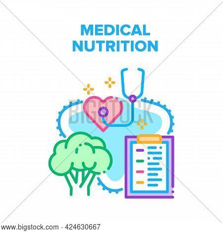 Medical Healthy Nutrition Vector Icon Concept. Medical Healthy Nutrition, Heartbeat And Blood Pressu
