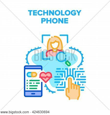 Technology Phone Vector Icon Concept. Fingerprint And Face Id For Unblocked Cellphone And Protection