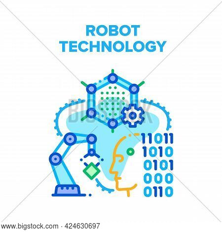 Robot Technology Vector Icon Concept. Robot Technology Developing And Coding, Robotic Arm For Workin