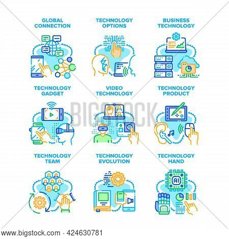 Business Technology Set Icons Vector Illustrations. Technology Evolution And Product, Global Connect