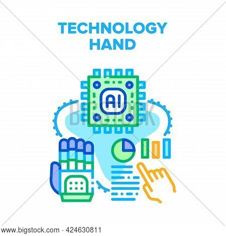 Technology Hand Vector Icon Concept. Robotic Technology Hand Prosthesis Innovation Cyber Equipment.