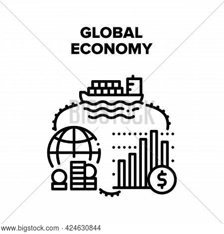 Global Economy Vector Icon Concept. Global Economy Business Occupation For Buying And Selling Goods,