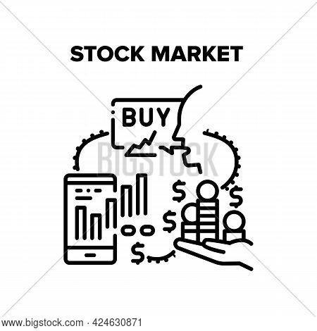 Stock Market Vector Icon Concept. Stock Market For Buying And Selling Goods, Online Trading And Moni