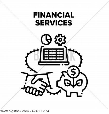 Financial Services And Advise Vector Icon Concept. Financial Services And Advise, Deal And Contract