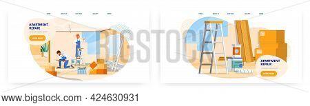 Apartment Repair Service, Landing Page Design, Website Banner Vector Template Set. Wall Restoration,