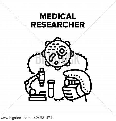 Medical Researcher Scientist Vector Icon Concept. Medical Researcher Scientist Research Virus With M