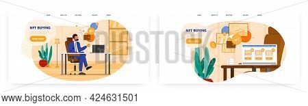 Nft Buying Landing Page Design, Website Banner Vector Template Set. Collector Buying Nft Crypto Art.
