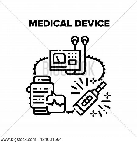 Medical Device Vector Icon Concept. Smart Watches And Medical Device For Monitoring Heartbeat, Gluco