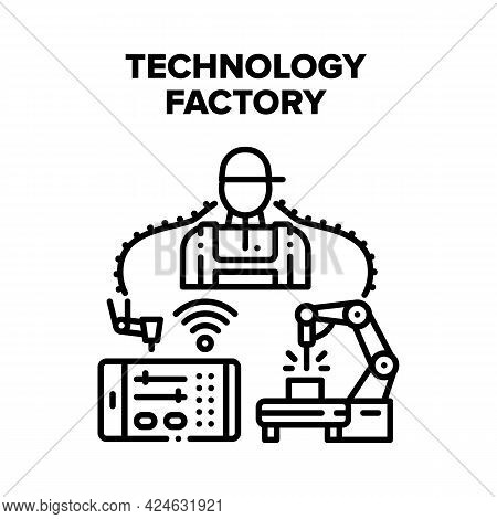 Technology Factory Production Vector Icon Concept. Plant Worker And Technology Factory Production, R