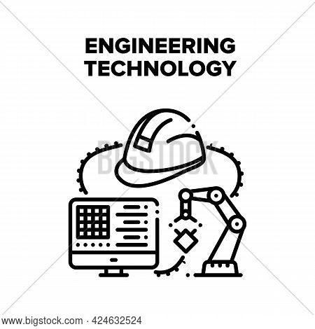 Engineering Technology System Vector Icon Concept. Developing And Programming Robotic Arm Engineerin