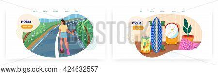 Hobby Landing Page Design, Website Banner Vector Template Set. Woman Riding Skateboard. Active Lifes
