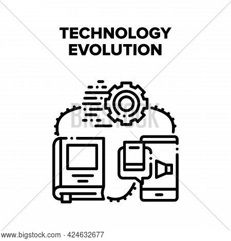 Technology Evolution Progress Vector Icon Concept. From Antique Book To E-book And Audio Literature,