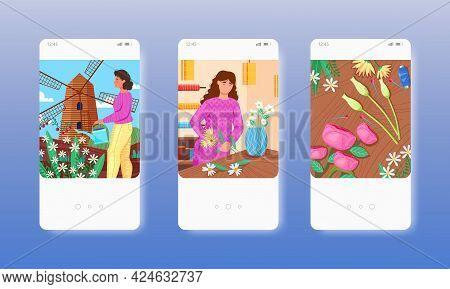 Florist Designer Growing Flowers, Making Bouquet. Mobile App Screens, Vector Website Banner Template