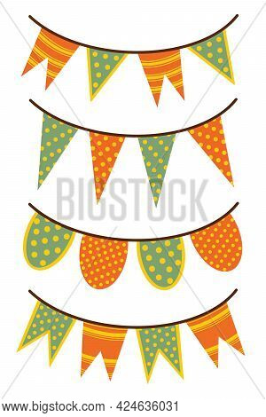 Set Of Vector Illustrations Of Festive Garlands. Isolated Icons On A White Background. Colorful Holi