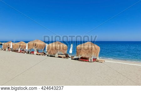 Beach On The Mediterranean Coast In Town Goynuk Near Kemer, Antalia Riviera, Turkey.