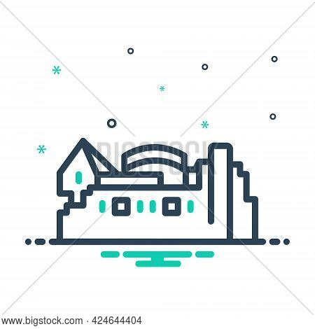 Mix Icon For Edinburgh Castle Landmark Cityscape Building