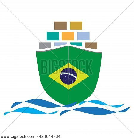 Concept Design Cargo Ship With Brazil Flag. Commercial Vessel Containers Freight Import And Export M