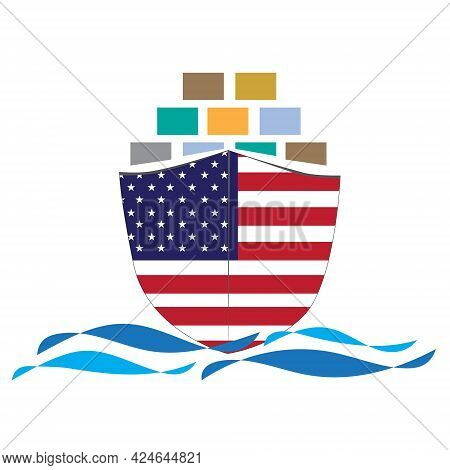 Concept Design Cargo Ship With Usa Flag. Commercial Vessel Containers Freight Import And Export Mari