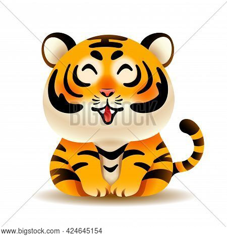 Vector Illustration Of Cute Tiger Isolated On White Background.