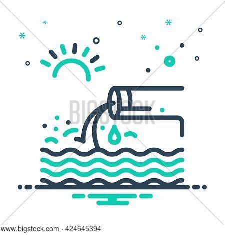 Mix Icon For Effluent Flow Stream Flow Sewage Canalization Sanitation Sewerage